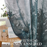 Custom Ombre Forest Landscape Printed Semi Sheer Curtain- Linen Sheer Curtain by NICETOWN ( 1 Panel )