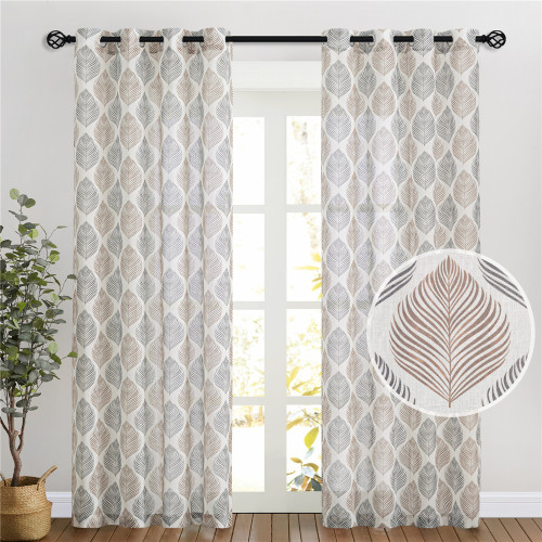 Leaf Pattern Printed Linen Semi-sheer Curtain - 1 Panel