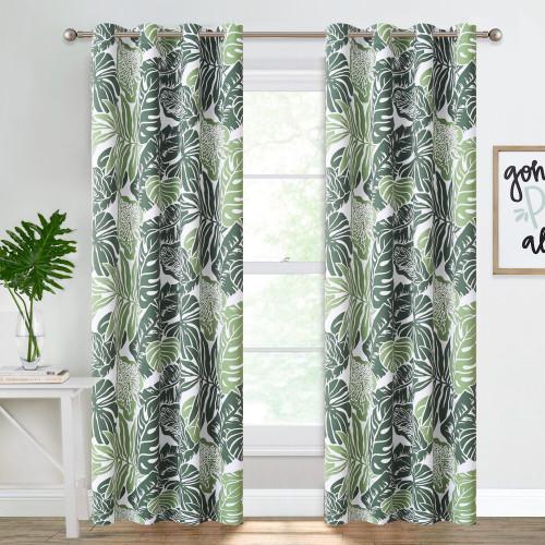 Banana Leaf Pattern Printed Room Darkening Blackout Curtain - Set of 2 Panels