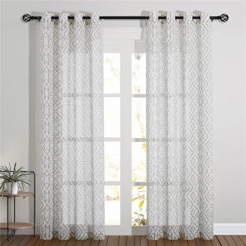 Ethnic Pattern Printed Linen Semi-sheer Curtain - 1 Panel