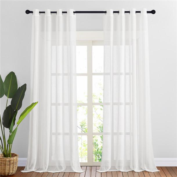 NICETOWN Flax Linen Sheer Curtain (1 Panel)