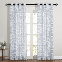 Custom Ethnic Pattern Printed Semi-Sheer Linen Curtain for Living Room by NICETOWN ( 1 Panel )