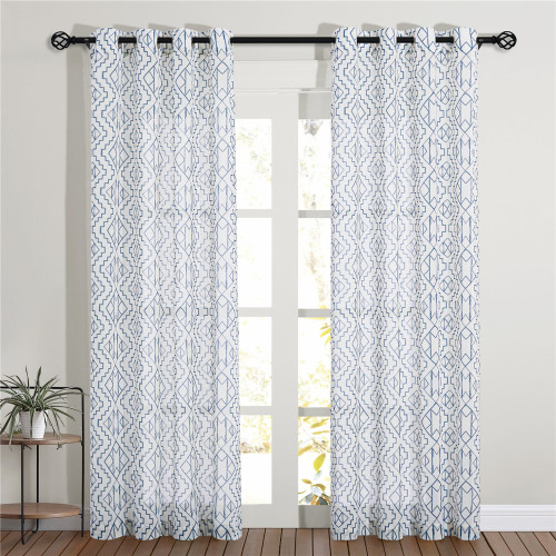Ethnic Pattern Linen Curtain,Sold as 1 Panel