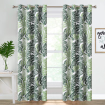 Banana Leaf Pattern Printed Thermal Insulated Blackout Curtain - 1 Panel