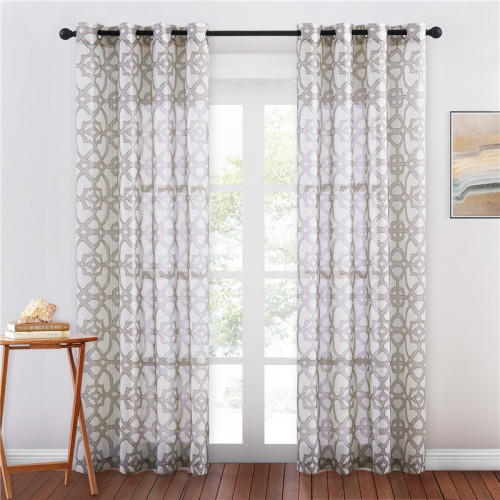 Geometry Printed Pattern Linen Textured Semi-sheer Curtain - 1 Panel