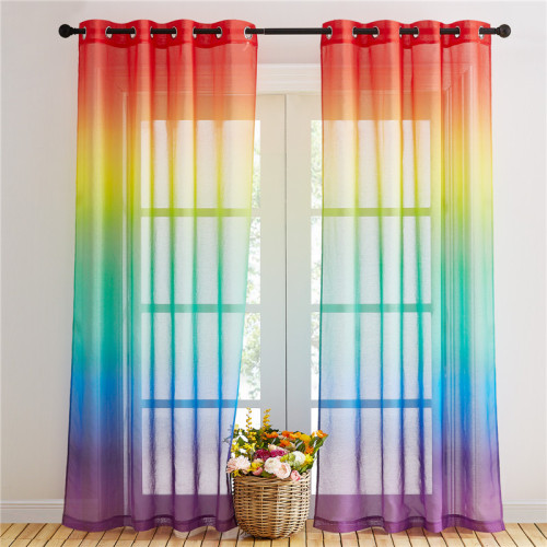 Custom Rainbow Pattern Printed Voile Sheer Curtain Kids Blackout Curtain by NICETOWN ( 1 Panel )