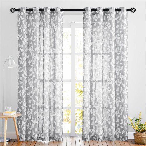 Leaves Printed Pattern Linen Textured Semi-sheer Curtain - 1 Panel
