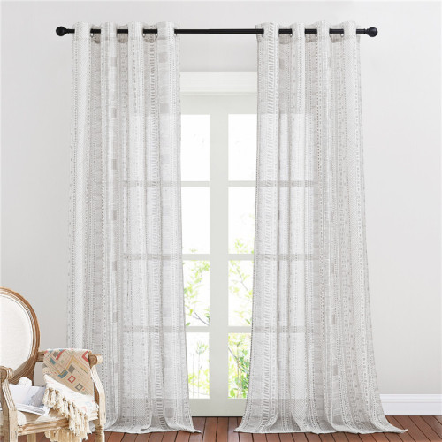 Bohemian Pattern Linen Semi-Sheer Curtain -1 Panel