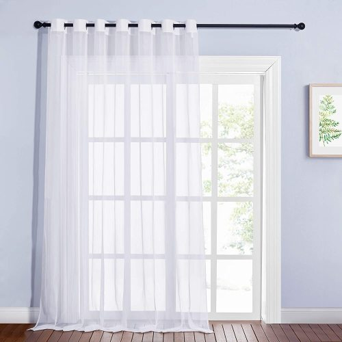 Solid Voile Sheer Curtain for Extra Wide Sliding Door (1 Panel)