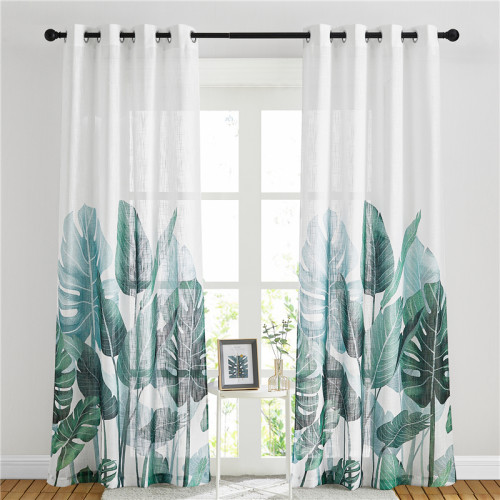 Palm Leaves Printed Pattern Linen Textured Sheer Curtain (One Panel)