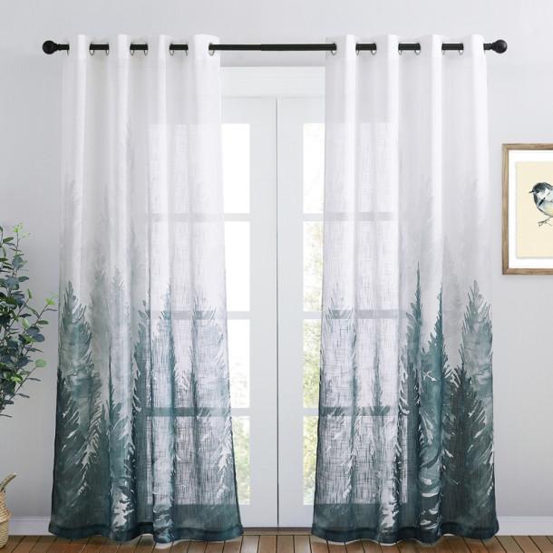 Deep Forest Linen Textured Sheer Curtain - 1 Panel