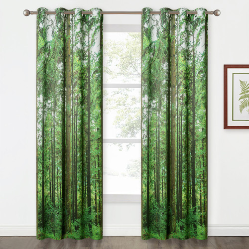 Jungle Wild Nature Flourishing Botanical Forest Tree Pattern Blackout Curtain - 1 Panel