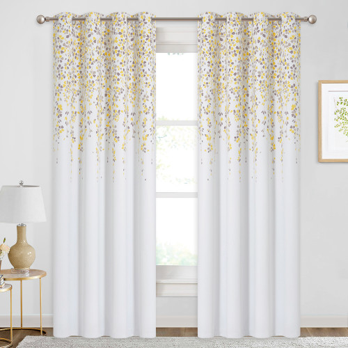 Custom Raining Flowers Heat Pattern Short Blackout Pattern Insulated Privacy Blackout Curtain by NICETOWN ( 1 Panel )
