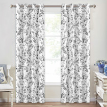 Floral Leaf Watercolor Dots Pattern Blackout Curtain - 1 Panel