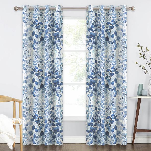 Natural Foliage Ink Painting Blackout Curtain - 1 Panel