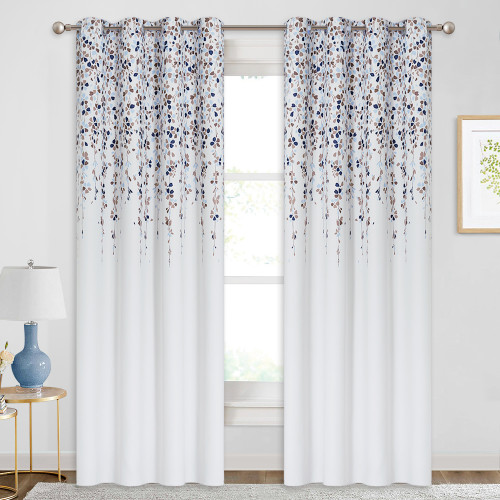 Raining Flowers Heat Insulated Blackout Curtain  (1 Panel)
