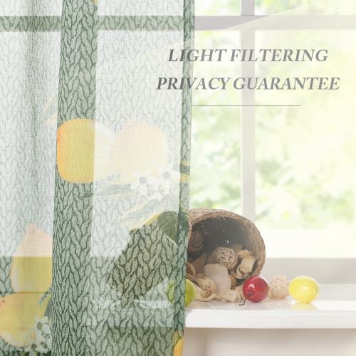 Custom Exotic Yellow Lemon Leaf Printed Semi Sheer Curtain for Living Room by NICETOWN ( 1 Panel )