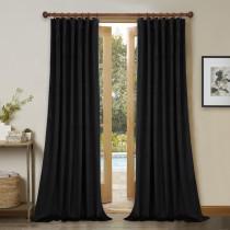 Custom Black|Solid Blackout Privacy Energy Saving Velvet Curtain Thermal Drapery by NICETOWN ( 1 Panel )