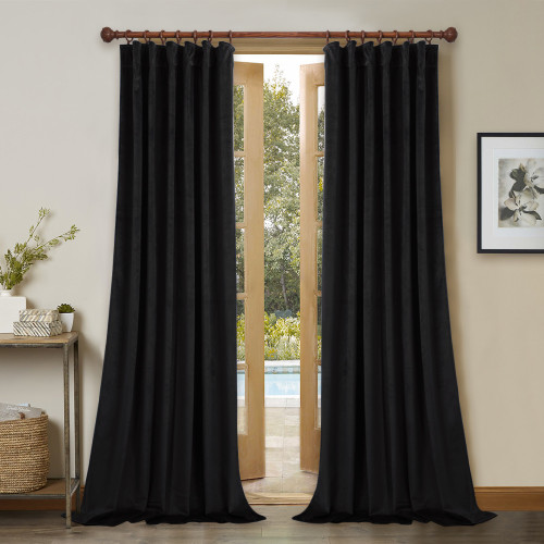 Custom Black|Solid Blackout Privacy Energy Saving Velvet Curtain Thermal Drapery by NICETOWN ( 1 Panel )