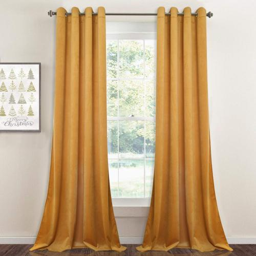 Yellowish Gold|Solid Blackout Velvet Curtain Drapery (1 Panel)
