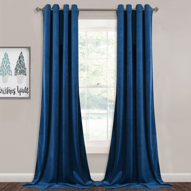 Custom Blue Solid Blackout Privacy Energy Saving Velvet Curtain Thermal Drapery by NICETOWN ( 1 Panel )