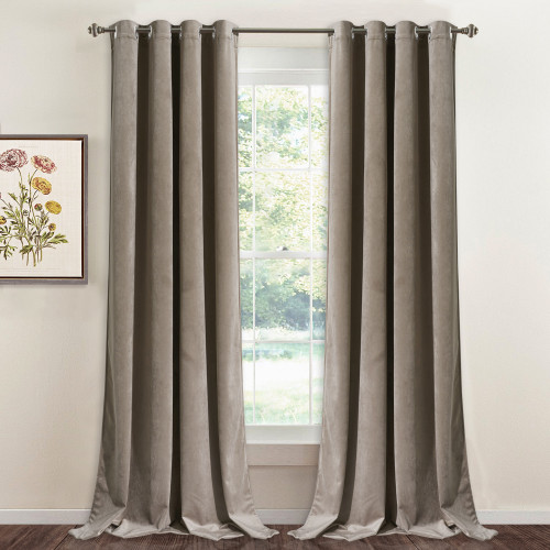 Custom Champagne|Solid Blackout Privacy Energy Saving Velvet Curtain Thermal Drapery by NICETOWN ( 1 Panel )