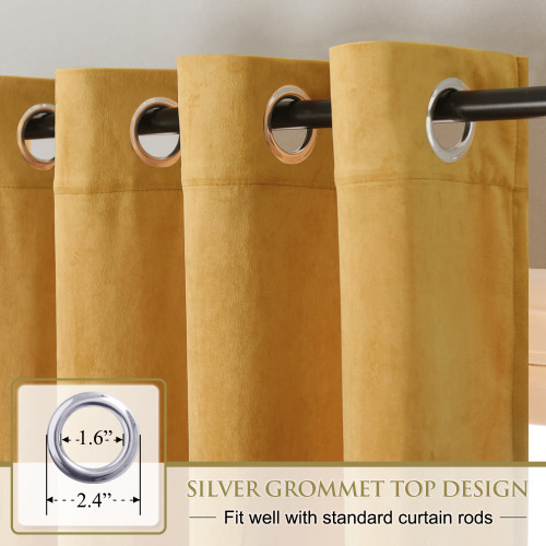 Custom Yellowish Gold|Solid Blackout Privacy Energy Saving Velvet Curtain Thermal Drapery by NICETOWN ( 1 Panel )