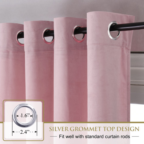 Custom Pink|Solid Blackout Privacy Energy Saving Velvet Curtain Thermal Drapery by NICETOWN ( 1 Panel )