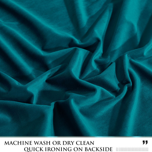 Custom Teal Blue|Solid Blackout Privacy Energy Saving Velvet Curtain Drapery by NICETOWN ( 1 Panel )
