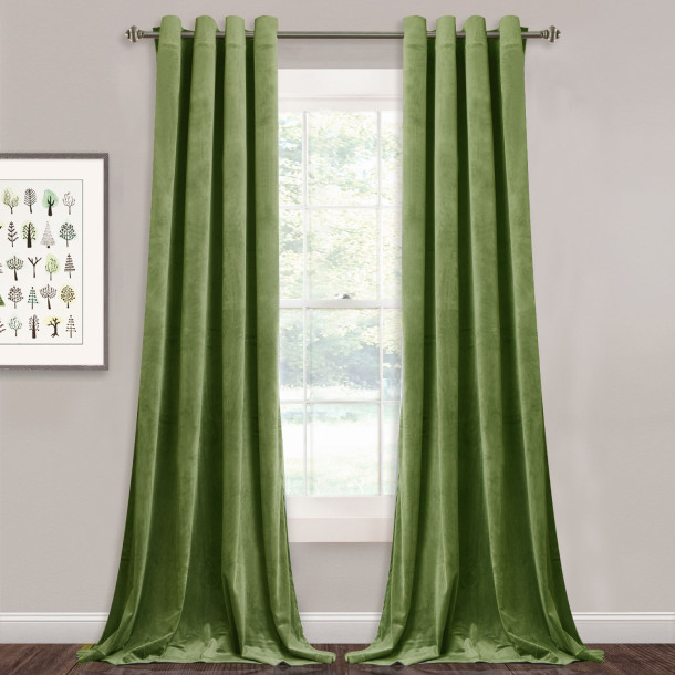 NICETOWN Grass Green|Solid Blackout Velvet Curtain Drapery (1 Panel)