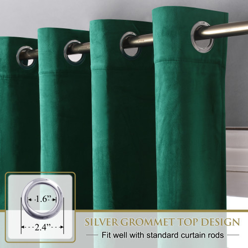 Custom Green|Solid Blackout Privacy Energy Saving Velvet Curtain Thermal Drapery by NICETOWN ( 1 Panel )