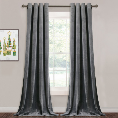 Custom Grey|Solid Blackout Privacy Energy Saving Velvet Curtain Thermal Drapery by NICETOWN ( 1 Panel )