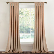 Custom Beige Solid Blackout Privacy Energy Saving Velvet Curtain Thermal Drapery by NICETOWN ( 1 Panel )