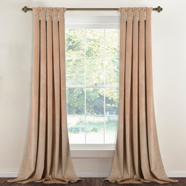 Custom Beige|Solid Blackout Privacy Energy Saving Velvet Curtain Thermal Drapery by NICETOWN ( 1 Panel )