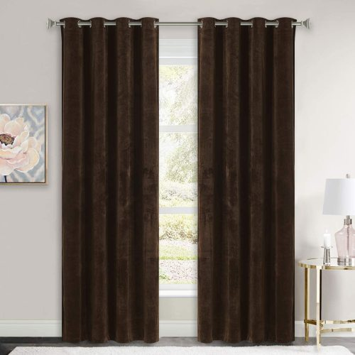 Custom Brown|Solid Blackout Privacy Energy Saving Velvet Curtain Thermal Drapery by NICETOWN ( 1 Panel )