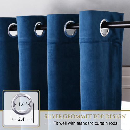 Custom Blue|Solid Blackout Privacy Energy Saving Velvet Curtain Thermal Drapery by NICETOWN ( 1 Panel )