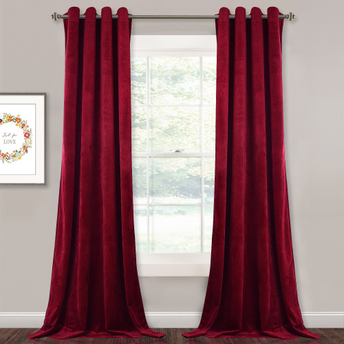 Custom Red|Solid Blackout Privacy Energy Saving Velvet Curtain Thermal Drapery by NICETOWN ( 1 Panel )
