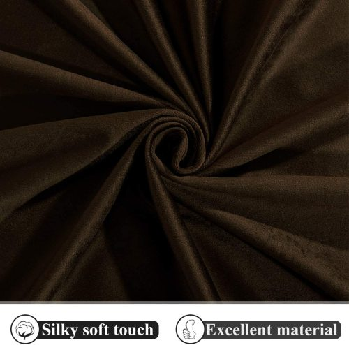 Custom Brown Solid Blackout Privacy Energy Saving Velvet Curtain Thermal Drapery by NICETOWN ( 1 Panel )