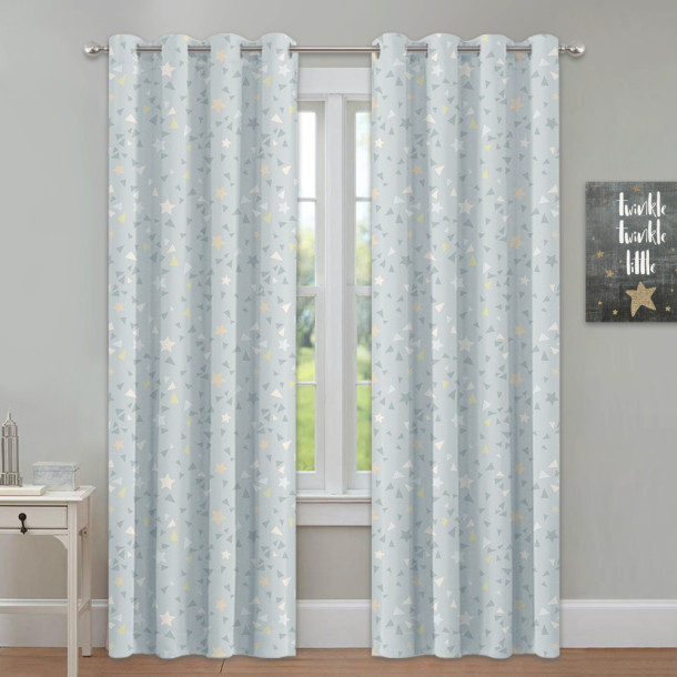 Star Pattern Room Darkening Magical Blackout Curtain(1 Panel)