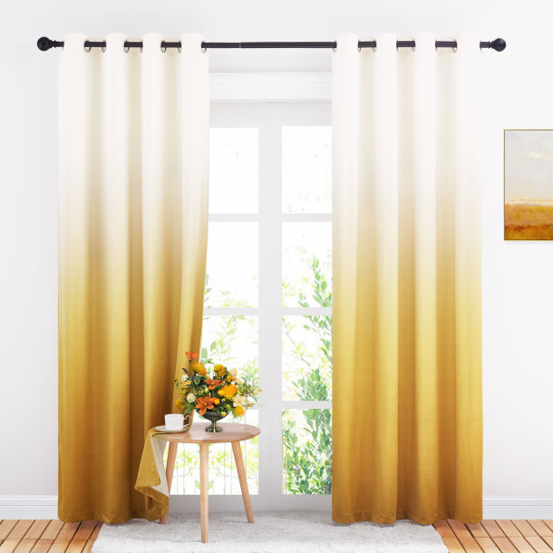 Custom Gradient Ombre Velvet Curtain Drapery Room Darkening Energy Saving Blackout Curtain for Bedroom by NICETOWN ( 1 Panel )