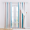 Double Layers Blackout Curtain with White Sheer Layer Overlay Thermal Insulated Layer Gradient Multicolor Stripe