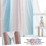 Custom Ombre Multicolor Stripe  Double Layers Blackout Curtain with White Sheer Layer Overlay Thermal Insulated Layer / Star Cut Blackout Curtain by NICETOWN ( 1 Panel )