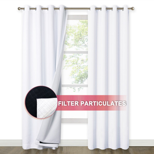 4 Layers Lower PM2.5 Particles Effectively,100% Blackout Soundproof Curtain(2 Layers of Blackout Fabric & 1 Layer of Sound Absorbent Cotton& 1 Layer of Melt-Blown Cloth)(1 Panel)
