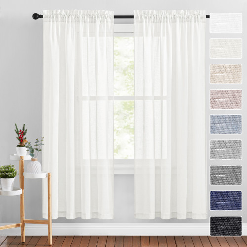 Solid Linen Textured Semi-Sheer Curtain (One Panel)