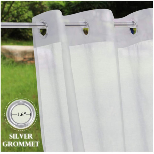 Waterproof Sheer Curtain for Patio,Outdoor Curtain White Linen Look Semitransparent(1 Panel)