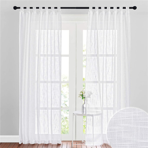 Semi Sheer Curtain- Linen Textured Sheer Curtain(1 Panel)