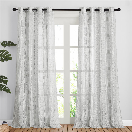 Custom Bohemian Sheer Curtain Natural Linen Weave Flax Textured Sheer Curtain for Kitchen-Bedroom by NICETOWN ( 1 Panel )