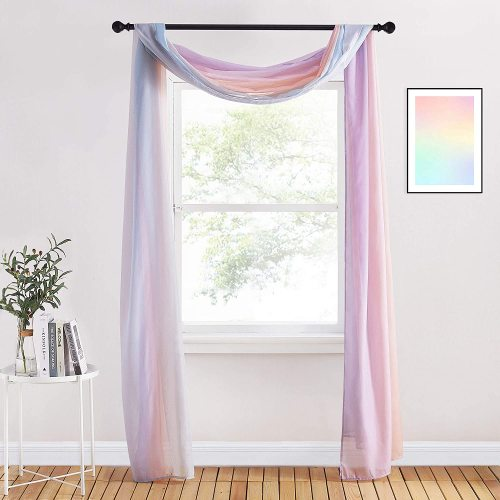 Custom Rainbow Scarf Curtain Sheer Voile Scarf Window Valance-Wedding Decoration by NICETOWN ( 1 Panel )