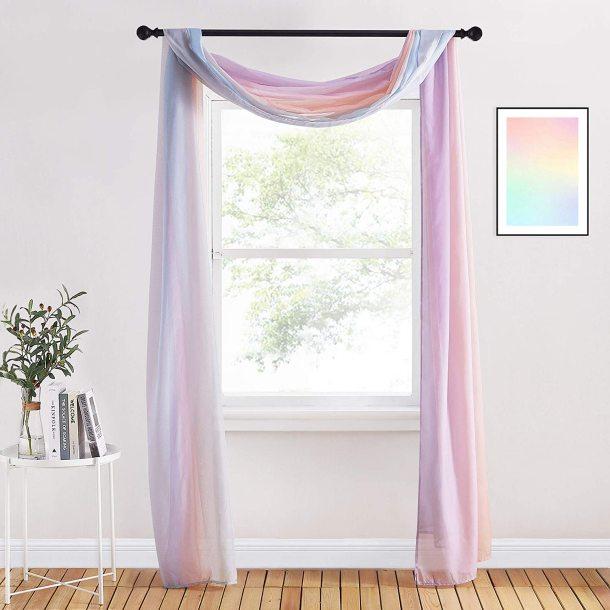 NICETOWN Rainbow Scarf Curtain Sheer Voile Scarf Window Valance