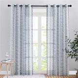 Custom Natural Decor Semi Sheer Faux Linen Textured with Slub Striped Pattern by NICETOWN ( 1 Panel )